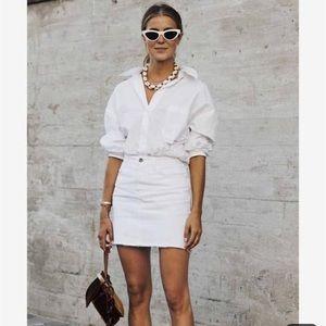 White Denim Mini-Skirt